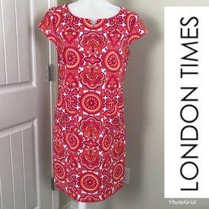 London Times Summer Dress Cap Sleeves Sz 10